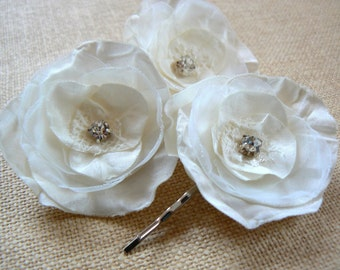 Wedding bridal flower hair accessory(set of 3), bridal hair accessories, bridal headpiece, wedding hair accessories, bridal hair piece