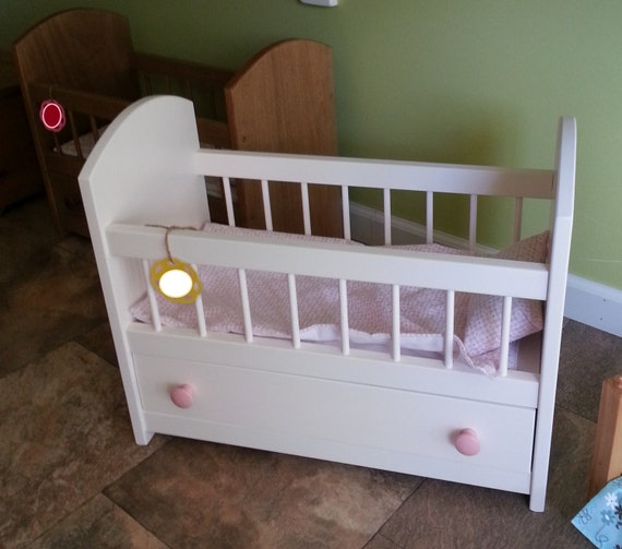 Girls Kids Childrens Wooden Nursery Bedroom Furniture Toy: American Reborn Doll Crib Trundle Bed Solid By