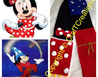 Minnie Mouse & Sorcerer Mickey inspired Scarf