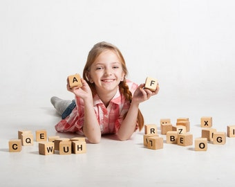 Alphabet blocks, blocks with letters, wooden building blocks, eco fiendly toy