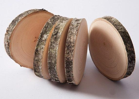 10 sous verres en bois disques en bois tranches d 39 arbre. Black Bedroom Furniture Sets. Home Design Ideas