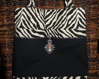 Zebra Tote with Black Embellished Pocket