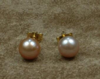 Pink Akoya Pearl Stud Earrings 7 - 7.5 mm (Σκουλαρίκια με Ροζ Μαργαριτάρια Akoya 7 - 7.5 mm)