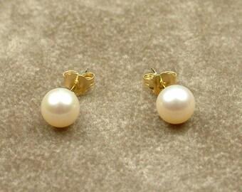 White Akoya Pearl Earrings 6 - 6.5 mm (Σκουλαρίκια με Λευκά Μαργαριτάρια Akoya 6 - 6.5 mm)