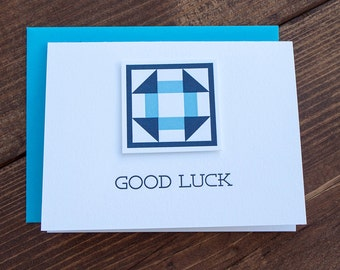 Good Luck. Quilt Letterpress Greeting Card