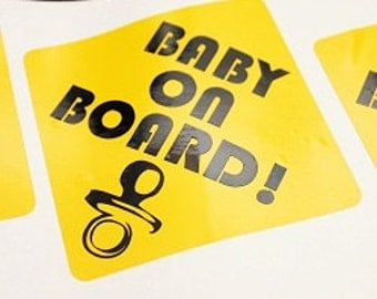 Baby on Board! Vehicle Decals, Baby on board sticker, baby on board bumper sticker, baby on board car sticker, baby on board yellow decal
