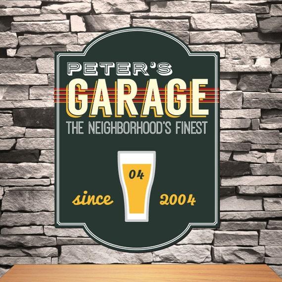 Personalized Garage Signs : Personalized men s garage bar sign groomsmen gift