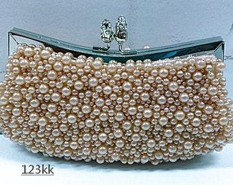 Pink~(6)Handmade Pearl  ~Gorgeous Bridal Evening Clutch Bag