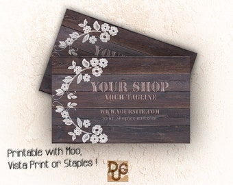 Business Card Design - Printable Business Card -   Business Card Template  RUSTIC  Templates name LACE on WOOD design