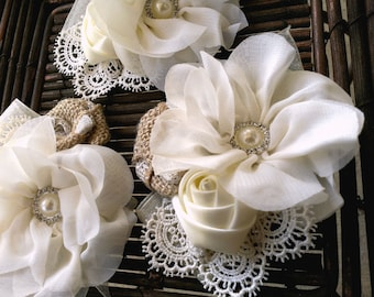 Romantic Burlap And Lace Flower Corsage in Ivory, Bridal Corsage, Wedding Corsage