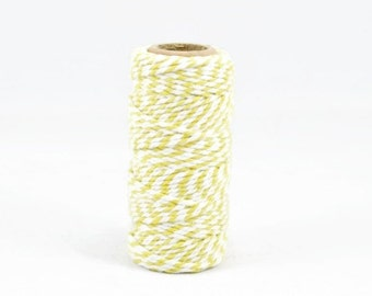 BAKERS TWINE - Yellow & White Two-tone Twisted Cotton String / Bakers Twine (20 meter spool)