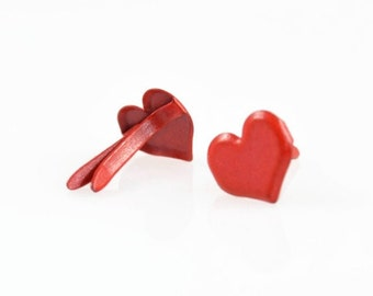 6mm HEART BRAD CLIPS (Set of 25) -  Red Heart Brad Clips Set (6mm x 1cm)