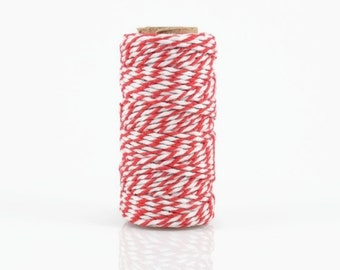 RED BAKERS TWINE - Red & White Two-tone Twisted Cotton String / Bakers Twine (20 meter spool)