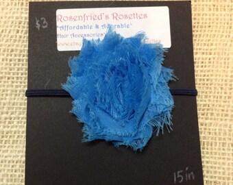 Blue Shabby Flower Rosette Headband