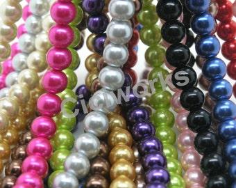 U Pick!!  80PCS 10mm Pearl Glass Beads, Round Imitation Pearls Girls Bubblegum Beads MCJ28