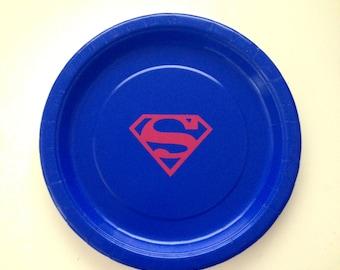 8 Superman Party Plates, Superman Party Cups, Superhero Party, Superman Birthday Party Decor, Superhero Birthday Party Decor, Tableware