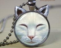 Cat Jewelry // White Cat Necklace pendant // Buddha cat necklace resin pendant // White Cat jewelry,  Cat Picture Pendant // WH4