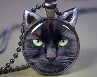 Black CAT NECKLACE, Black Cat pendant // Halloween resin pendant // Long haired black cat jewelry // Cat Pendant // Cat Lovers // BLKLH1