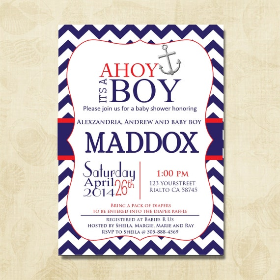 ahoy it 39 s a boy chevron baby shower invitation in red and navy blue