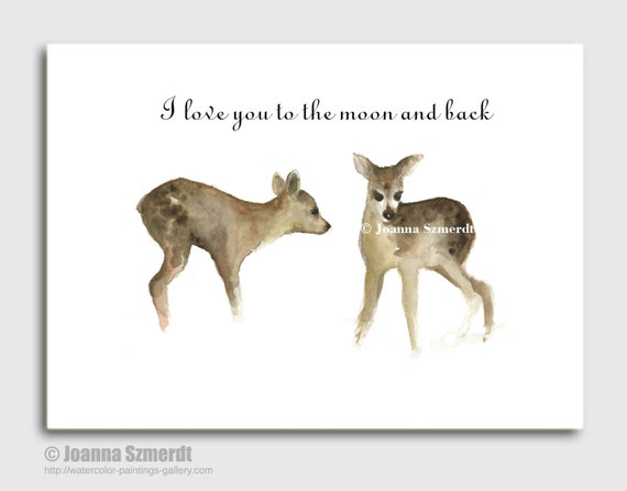 I love you to the moon and back. Typography print watercolor greeting card. Brown wall decor deer art from my original watercolor painting.