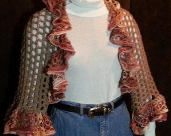Bolero shrug with ruffle yarn trim