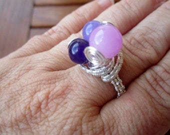 Pink & Purple ring: copper silver plated wire and agate beds ring