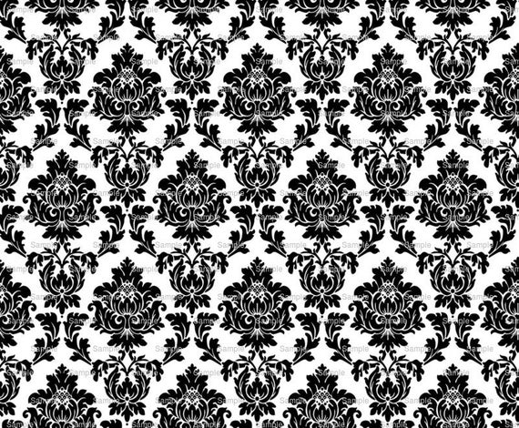 Black & White Damask Birthday - Edible Cake and Cupcake Topper For Birthday's and Parties! - D799