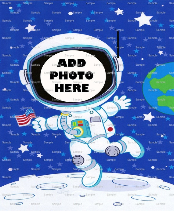Space Astronaut Birthday Cake Topper - Edible Cake and Cupcake Photo Frame For Birthdays and Parties! - D4663