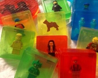 Six LEGO® Guy Minifigure Soaps