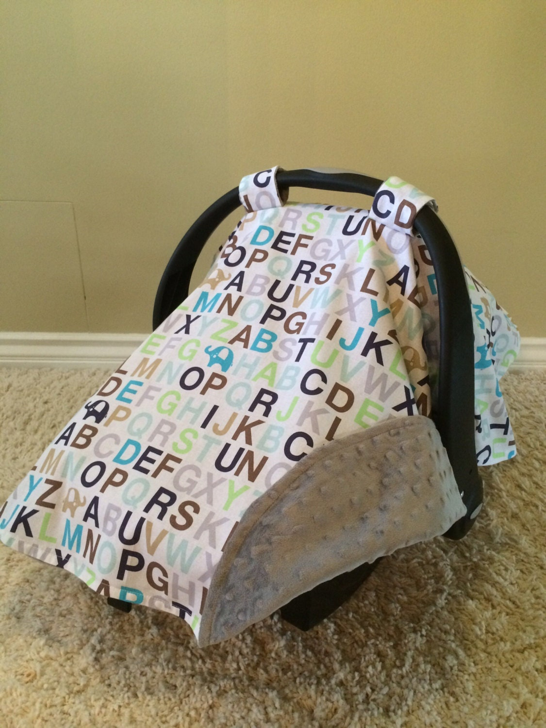 Car Seat Cover Canopy With Matching Strap Cover In Elephant