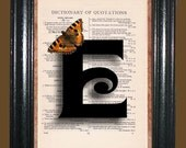 Letter E with Orange - Brown Butterfly - Vintage Dictionary Page Book Art Upcycled Page Art Collage Art Print