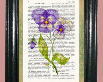 Purple Petunia Flowers with Green Leaves Dictionary Page Art Book Page Art Upcycled Art Print Vintage Book Art cp433