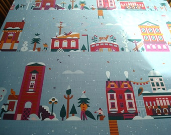 """Cotton Tablecloth; 57"""" Square / Round Tablecloth; Grayish Blue Tablecloth with Bright Winter Motif Print; Colorful Christmas Tablecloth"""