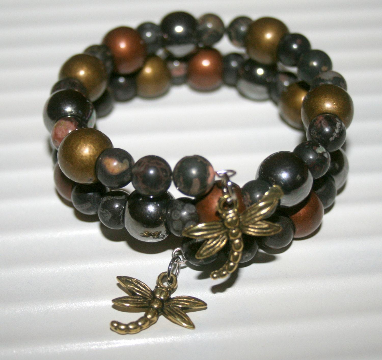Memory Charm Bracelets: Memory Wire Bracelet Dragonfly Bracelet Boho Jewelry Charm
