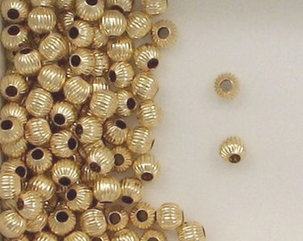 14k Gold Filled 5mm Corrugated Round Spacer Beads, Choice of Lot Size 305