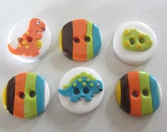 Dinosaur Buttons ~ Set of 6
