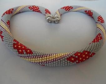 Beaded crochet necklace crochet chain beaded rope hose chain lucky node