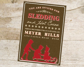 Sledding printable Party Invitation Vintage Style Winter Invite Hot Cocoa Hot Chocolate