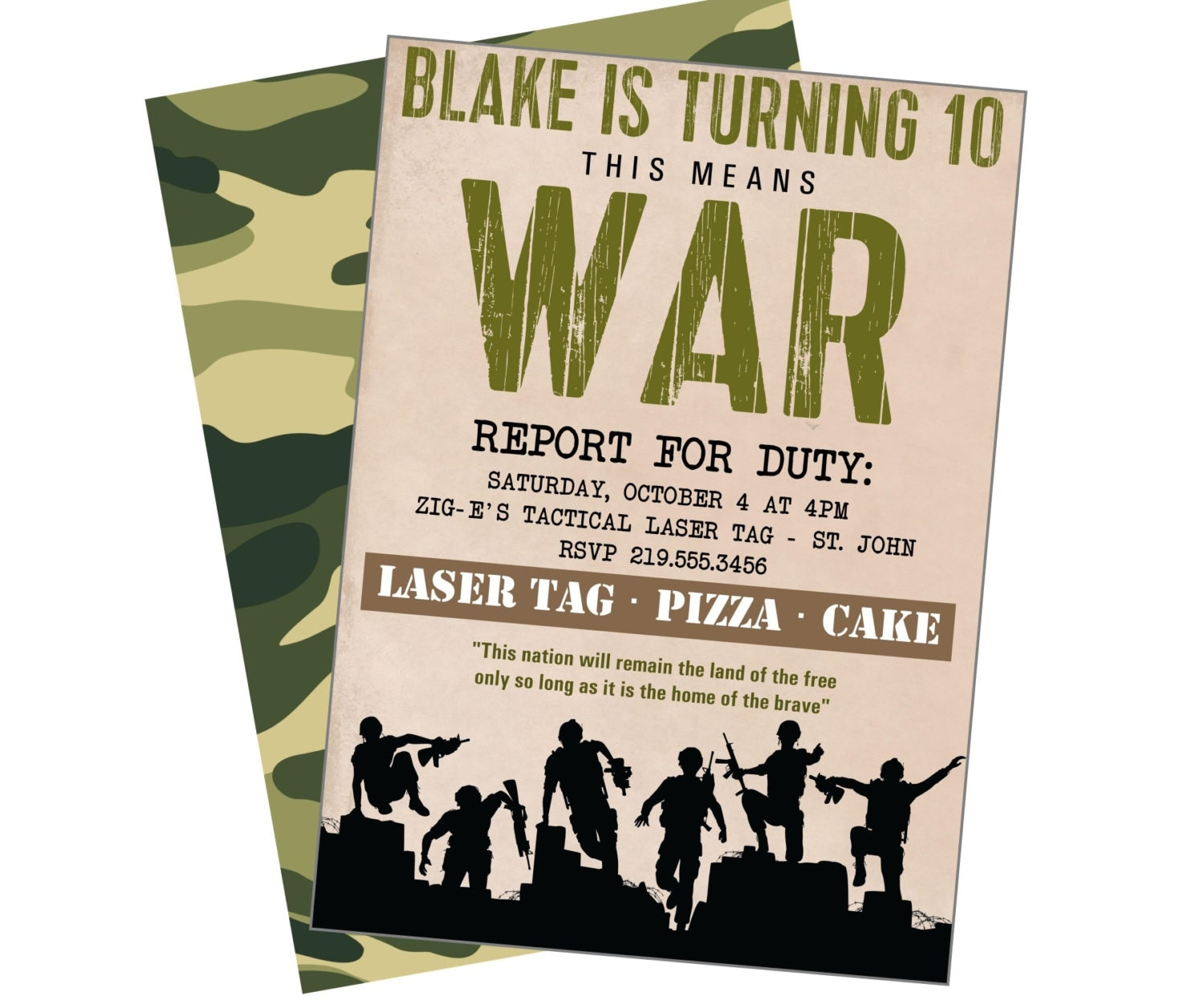 army soldier printable party invite laser tag nerf war
