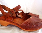 Oxblood Bohemian 60s 70s Leather Cut Outs Round Toe Wood Heels Platform Wedge Clogs Sandal Brazil Size 8.5 9 39