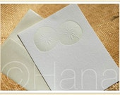 DIY Letterpress SAND DOLLAR {Wedding / Save the Date / Shower / Beach / Tropical} Invitation Thank You Note Card + Blank Envelope / a6