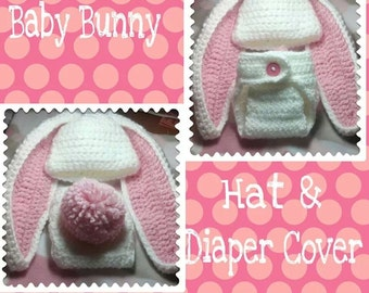 Baby Bunny Crocheted Hat and Diaper Cover