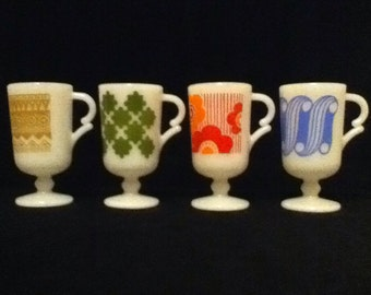 Mugs milk glass retro pedestal mugs