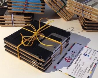 Set of four Upcycled Floppy Disc coasters *cork backed* set#1