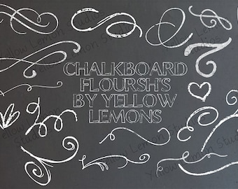 Chalk flourishes swirls png files- INSTANT DOWNLOAD
