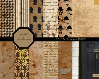 "INSTANT DOWNLOAD- Vintage old fashion style Sherlock Holmes Digital Scrapbooking Paper Pack backgrounds, 12""x12"", 300 dpi .jpg"