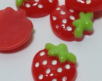 5 Strawberry Shape Cabochons - Flat Back (Scrapbooking & Crafts)