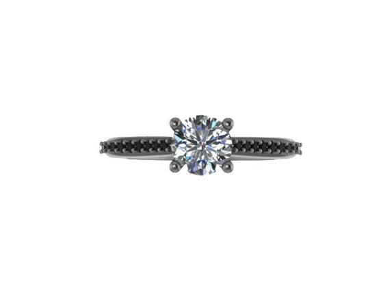 black engagement ring moissanite by