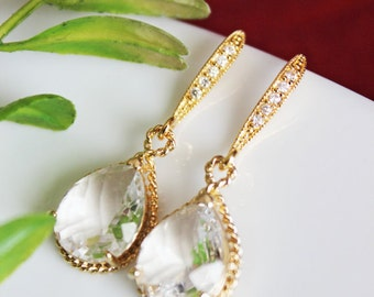 Crystal Clear Wedding Earrings, Gold Crystal Drop Bridal Earrings, Bridesmaids Earrings, Mother of the Bride