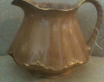 Vintage Homer Laughlin Pitcher trimmed with 18Karat Gold